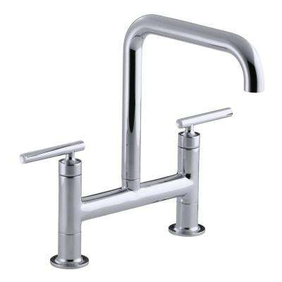 Purist 12 in. 2-Handle Deck-Mount High-Arc Bridge Kitchen Faucet in Polished Chrome