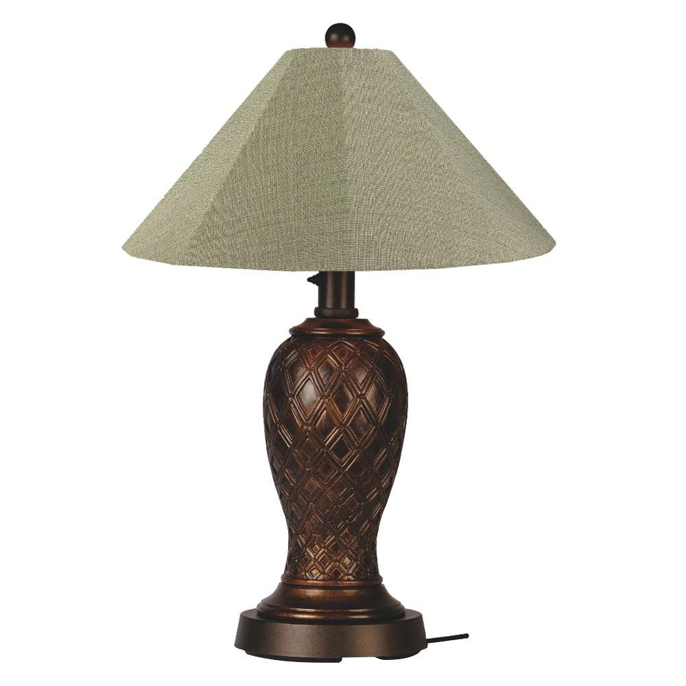Patio Living Concepts Monterey 34 in. Bronze Outdoor Table Lamp with Basil Linen Shade
