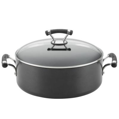 Contempo 7.5 Qt. Black Hard-Anodized Nonstick Wide Stockpot