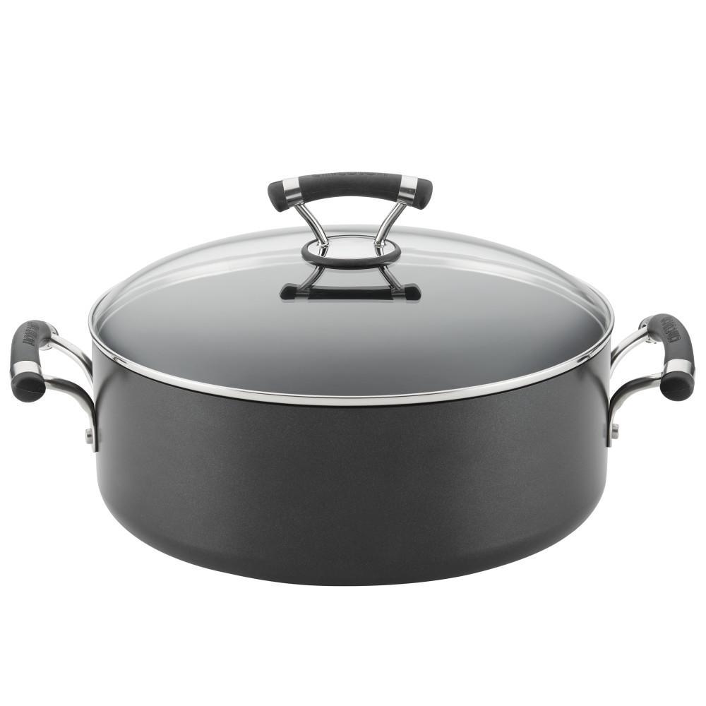 Contempo 7.5 qt. Hard-Anodized Aluminum Nonstick Stock Pot in Black with Glass Lid
