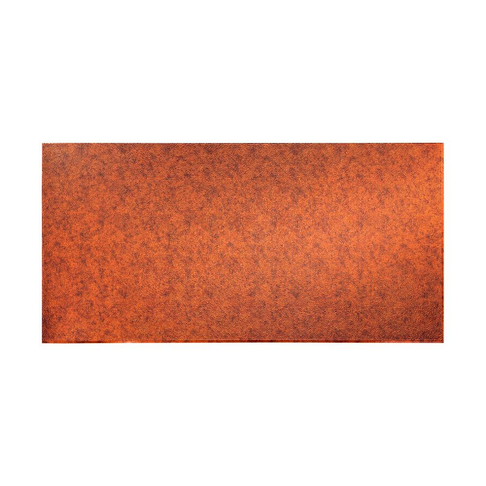 Fasade 96 in. x 48 in. Hammered Decorative Wall Panel in Moonstone Copper