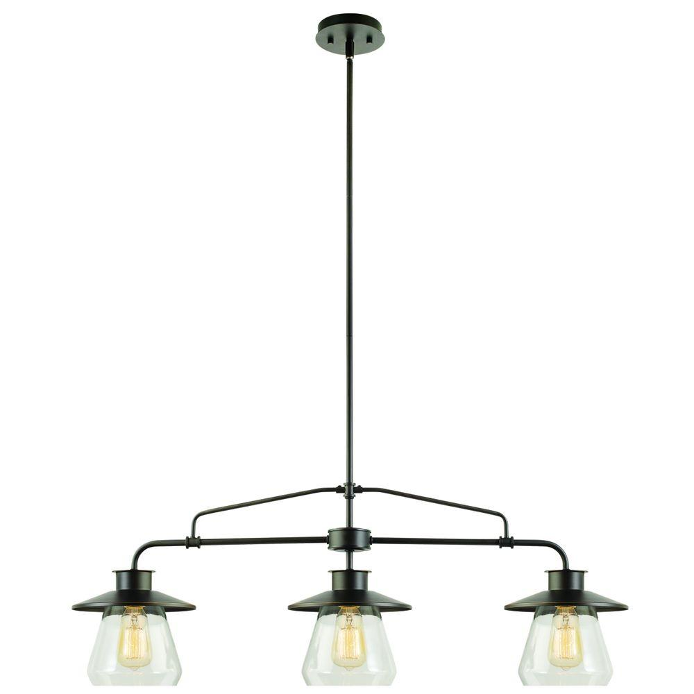 Globe Electric 3-Light Oil Rubbed Bronze and Glass Vintage Pendant