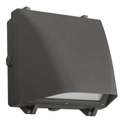 150-Watt Equivalent 10 in. Outdoor Security Integrated LED Bronze Wall Pack Light Metal Halide Full Cut off 3900 Lumens