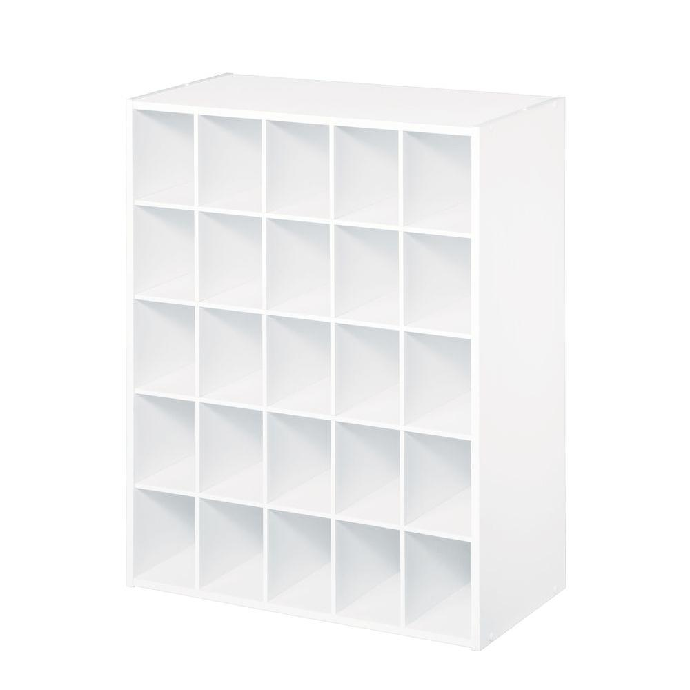 H White Stackable 25-Cube Organizer  sc 1 st  Home Depot & ClosetMaid 24 in. W x 32 in. H White Stackable 25-Cube Organizer ...