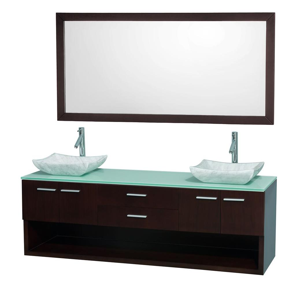 Wyndham Collection Andrea 72 in. Double Vanity in Espresso with Glass Vanity Top in Aqua and Sink-DISCONTINUED