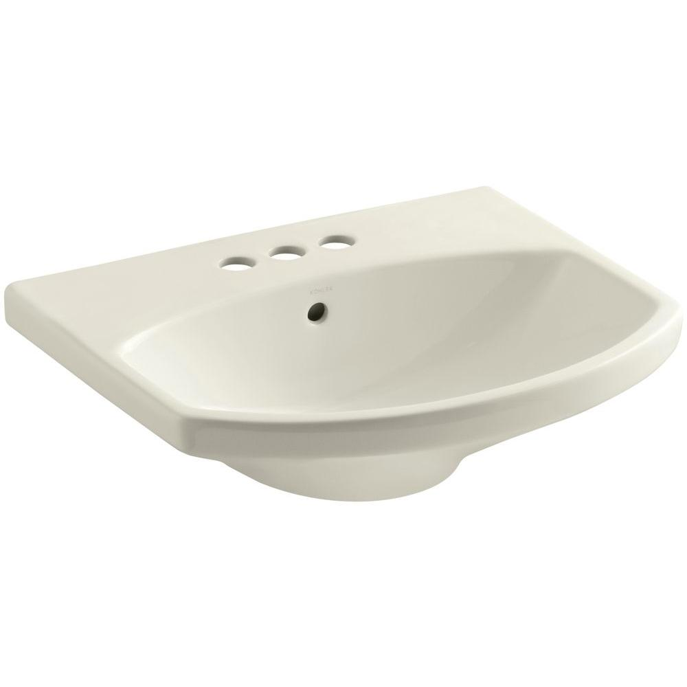 Cimarron 22-3/4 in. Vitreous China Pedestal Sink Basin in Biscuit with