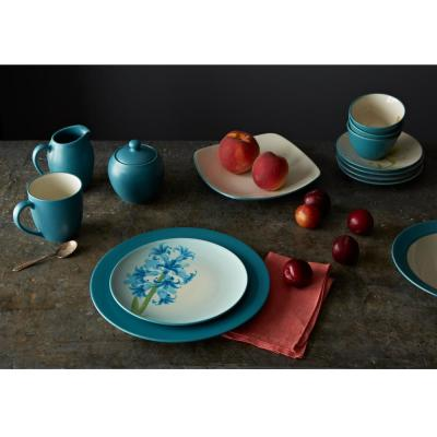 Colorwave Square 4-Piece Casual Turquoise Stoneware Dinnerware Set (Service for 1)