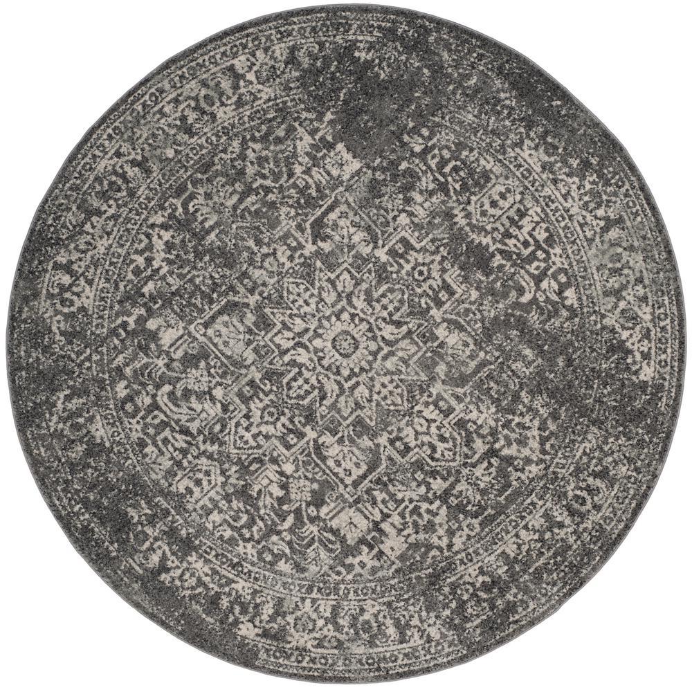 Evoke Gray/Ivory 9 ft. x 9 ft. Round Area Rug