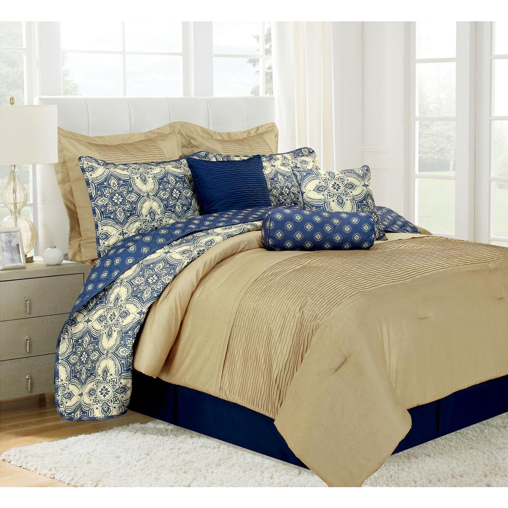 Patina Blue Queen Microfiber 10 Piece Comforter Set