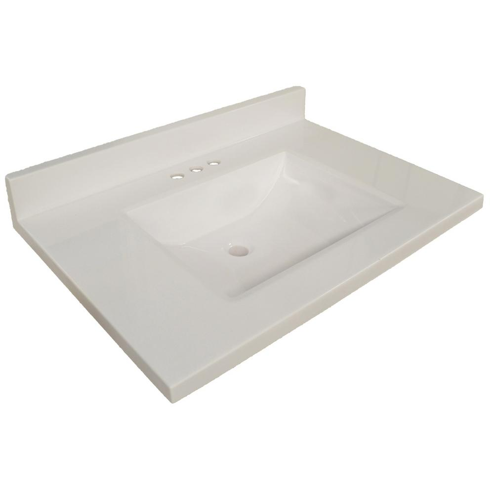 Design House 37 in. W Wave Cultured Marble Vanity Top in Solid White with White Basin