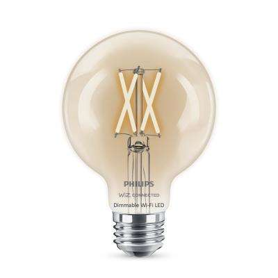 40-Watt Equivalent G25 WiZ Connected Dimmable Wi-Fi Enabled Smart LED Light Bulb Soft White