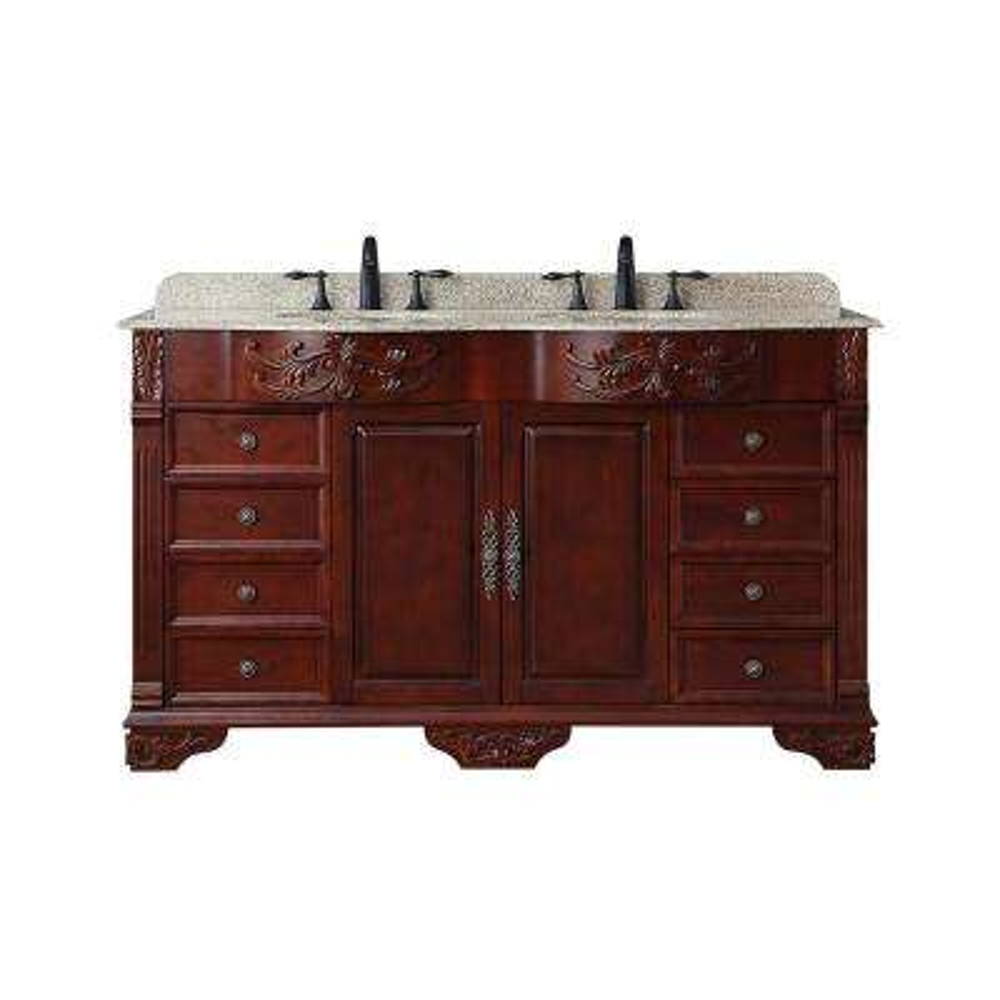 Wildercliff 60 in. W x 22 in. D Bath Vanity in Dark Cherry with Granite Vanity Top in Speckled Beige with White Basins