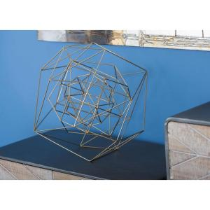 Abstract Wire Geometric-Sculpture in Gold Iron by