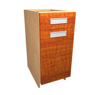 Genoa Ready to Assemble 15 x 34.5 x 24 in. Base Cabinet with 1 Soft Close Door and 1 Soft Close Drawer in Cognac