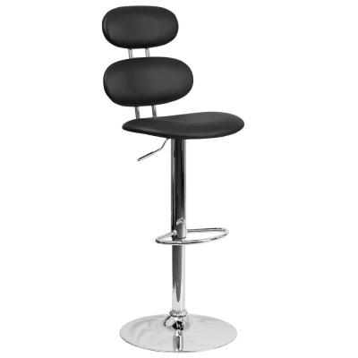 32 in. Adjustable Height Black Cushioned Bar Stool