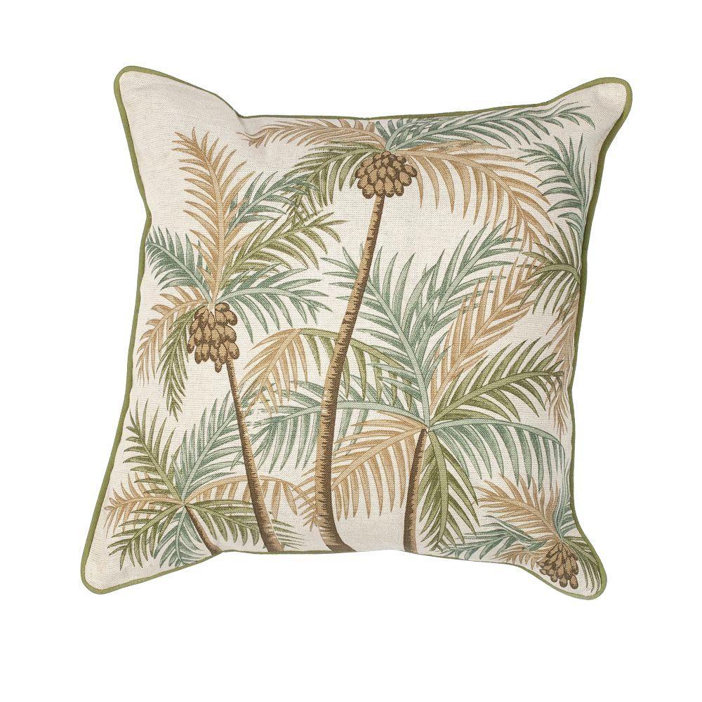 Pillows Decorative Pillows Natural Pillows: Kas Rugs Palm Tree Natural/Green Decorative Pillow
