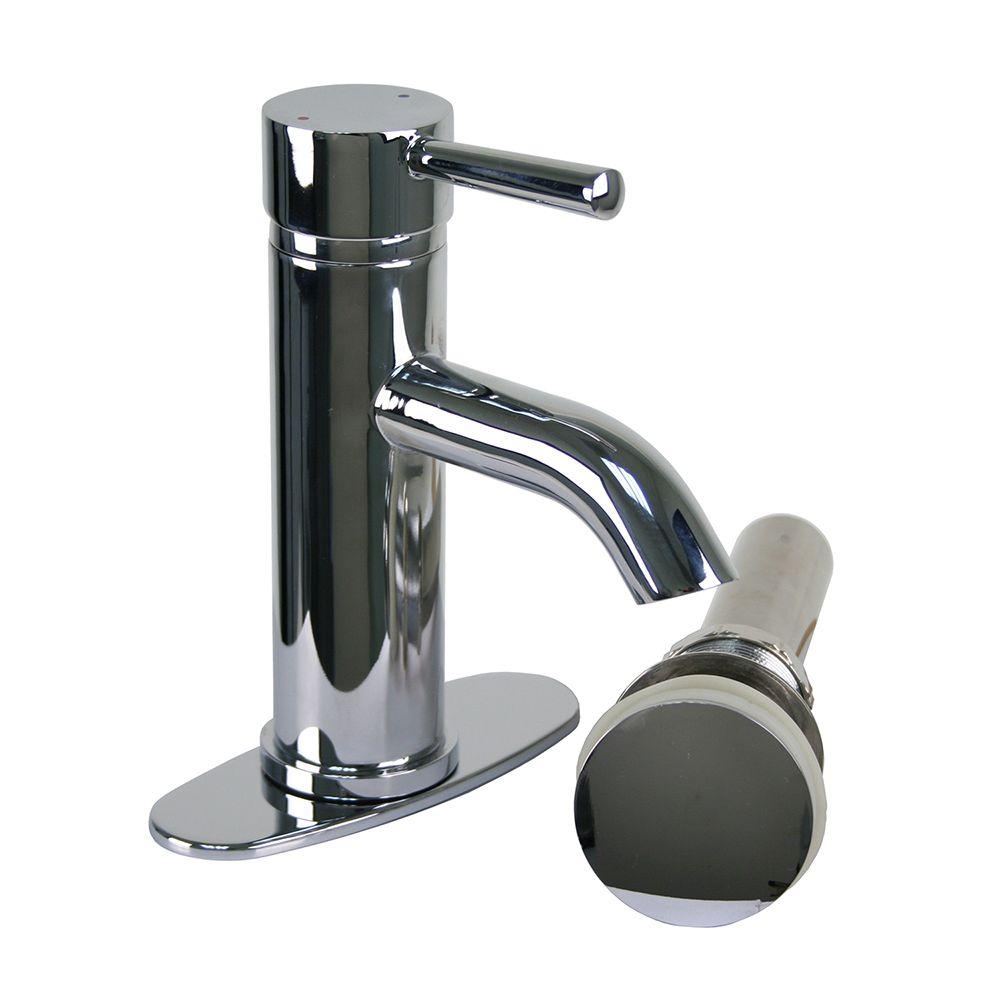 Brienza Moncalieri Single Hole 1-Handle Low-Arc Bathroom Faucet in Chrome with Drain
