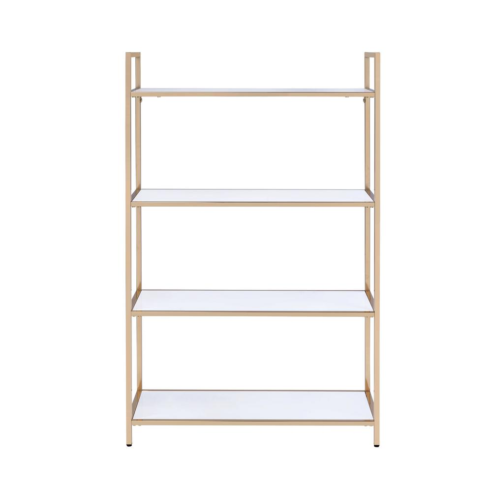 Acme Furniture Ottey White High Gloss And Gold Bookcase