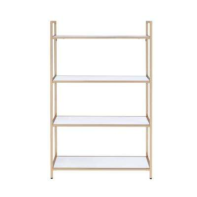 Ottey White High Gloss and Gold Bookcase