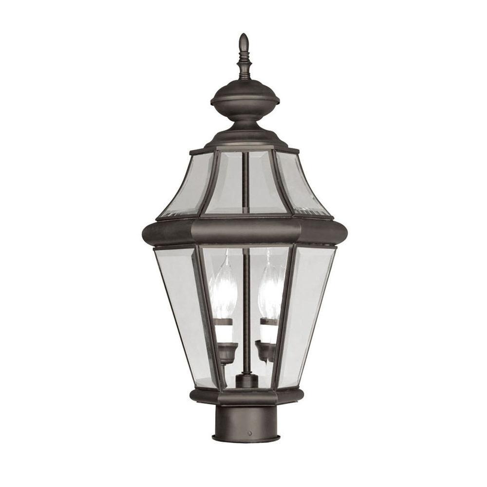 Livex Lighting Providence 2-Light Outdoor Bronze Incandescent Post Lantern