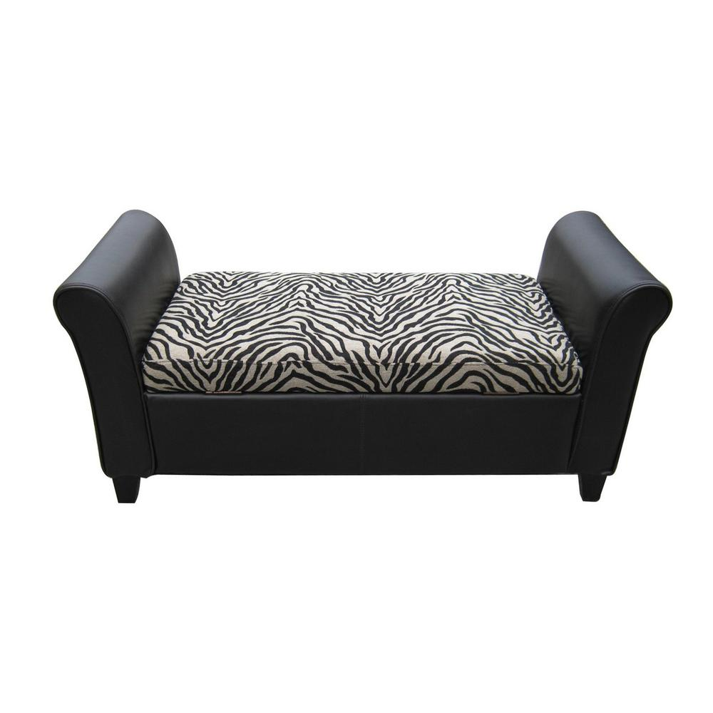Noble House Espresso Brown Bonded Leather Armed Storage Bench With