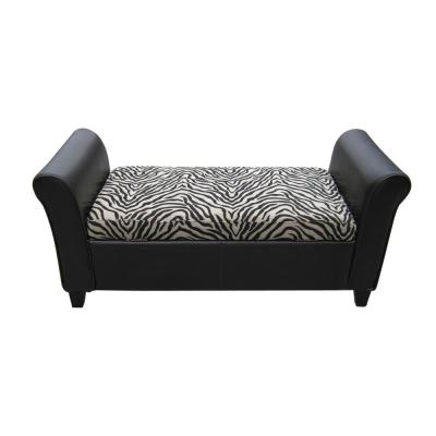 Espresso Brown Bonded Leather Armed Storage Bench with Zebra-Patterned Fabric Top