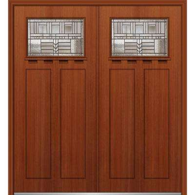64 in. x 80 in. Oak Park Left-Hand Inswing 1/4-Lite Decorative Stained Fiberglass Fir Prehung Front Door with Shelf