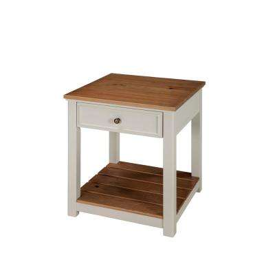 Savannah End Table, Ivory with Natural Wood Top