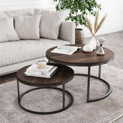Stella 18 in. Warm Nutmeg and Black Industrial Wood Stacking Round Nesting Coffee Table (Set of 2)