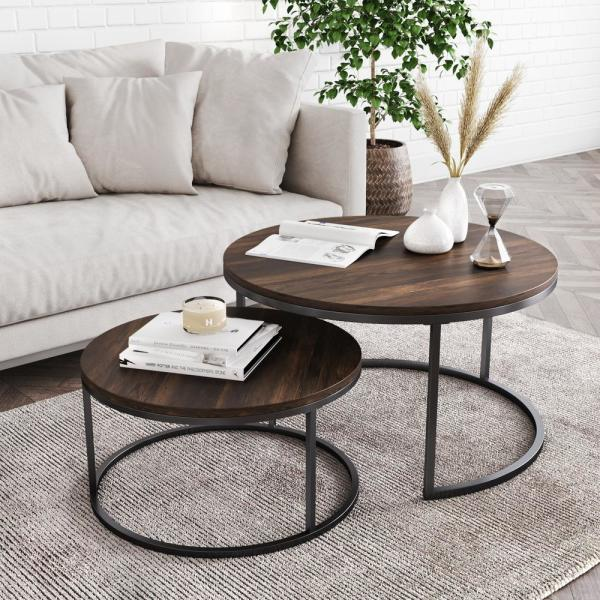 Nathan James Stella 18 In Warm Nutmeg And Black Industrial Wood Stacking Round Nesting Coffee Table Set Of 2 34001 The Home Depot
