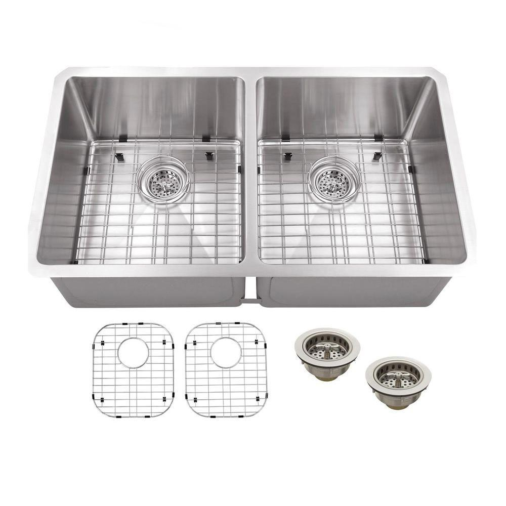 schon all in one undermount stainless steel 32 in double bowl rh homedepot com  blanco double bowl stainless steel undermount kitchen sink