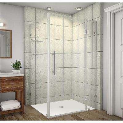 Avalux GS 42 in. x 34 in. x 72 in. Completely Frameless Shower Enclosure with Glass Shelves in Stainless Steel