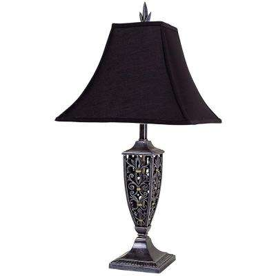 30 in. Antique Black Table Lamp