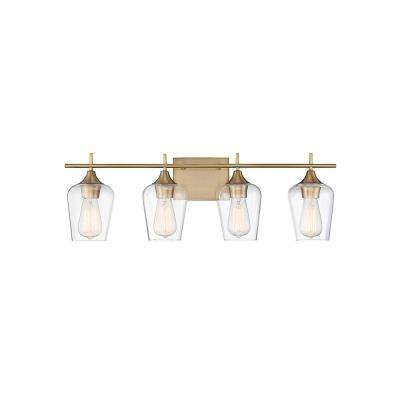 Exceptionnel 4 Light Warm Brass Bath Light