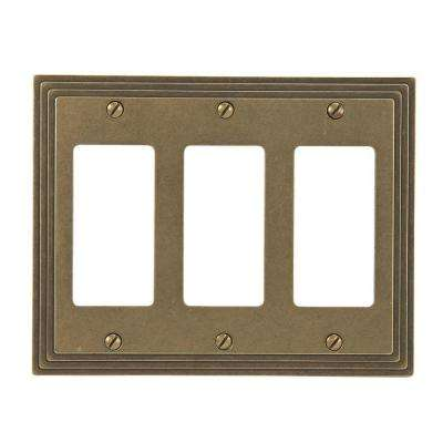 Steps 3 Rocker Wall Plate - Rustic Brass Cast