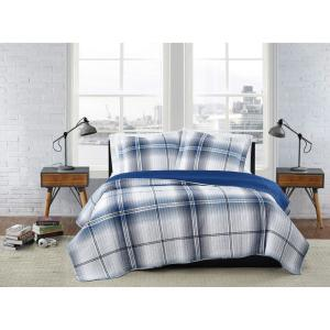 Nolan Houndstooth Stripe White and Black Polyester 3-Piece Full/Queen Quilt Set