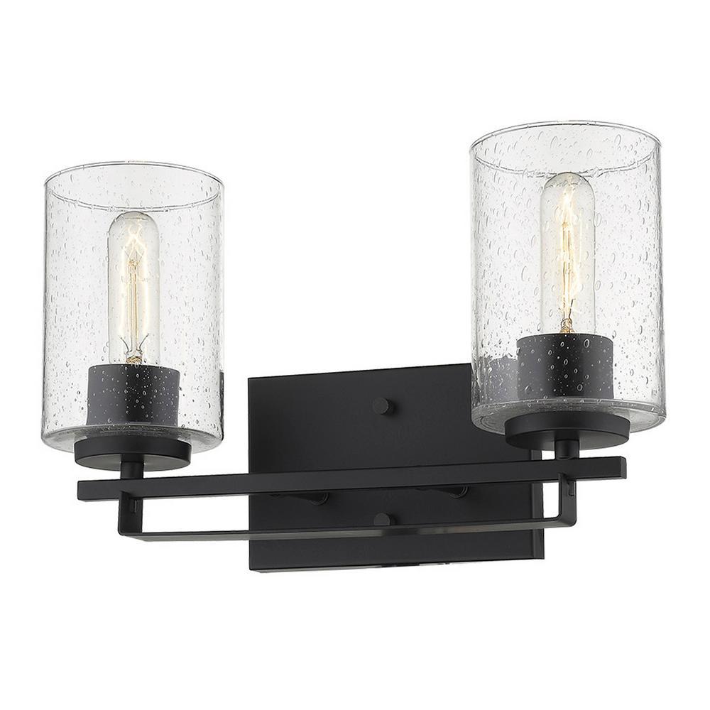 Orella 15 in. 2-Light Matte Black Vanity Light