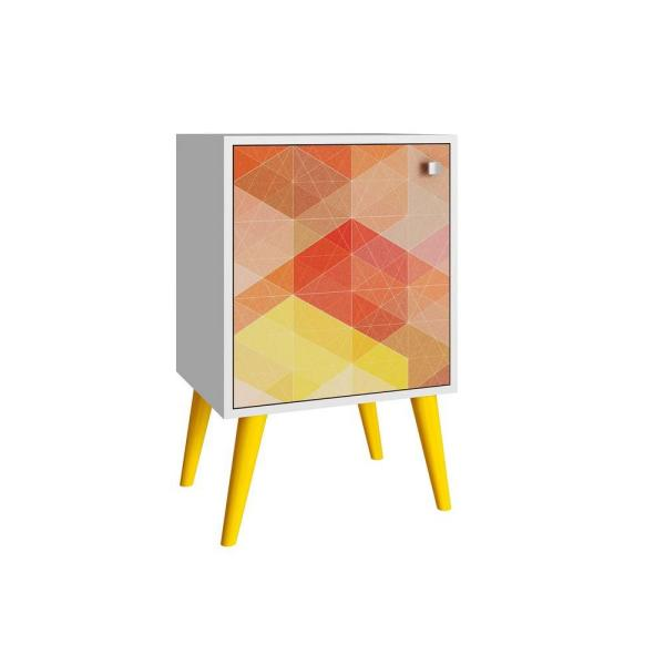 Manhattan Comfort Avesta White and Multi-Colored Storage Side Table