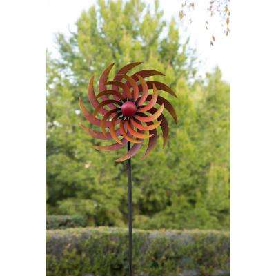 75 in. Tall Firey Metal Windmill