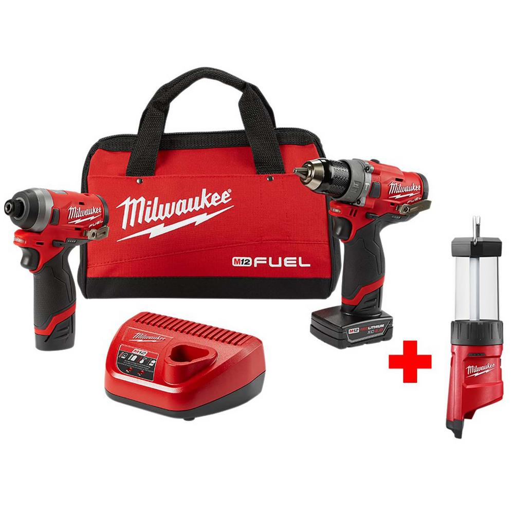 Milwaukee M12 FUEL 12-Volt Lithium-Ion Brushless Cordless Hammer Drill and Impact Driver Combo Kit (2-Tool) with Free M12 Lantern