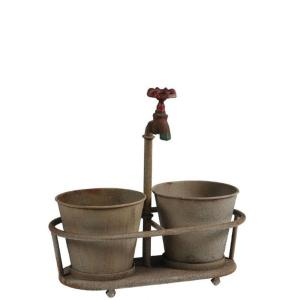 3R Studios Iron Faucet 13.75 inch W x 14 inch H Aged Bronze Metal Planter by 3R Studios