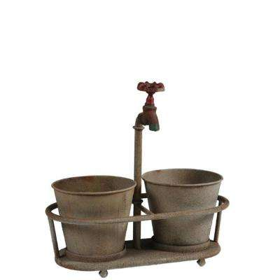 Iron Faucet 13.75 in. W x 14 in. H Aged Bronze Metal Planter