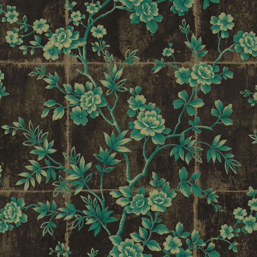 Seabrook Designs Great Wall Metallic Mocha and Sea Green Floral Wallpaper