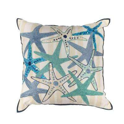 Starfish Party Ivory/Blue Decorative Pillow