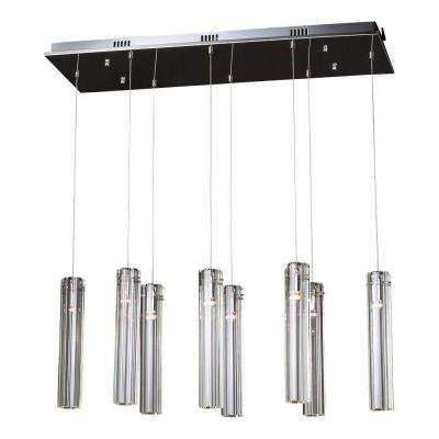 8-Light Polished Chrome Chandelier with Clear Glass Shade