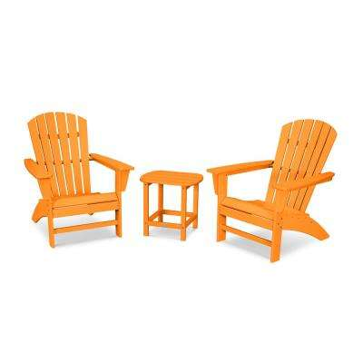 Grant Park Tangerine 3-Piece Plastic Traditional Curveback Adirondack Patio Conversation Set