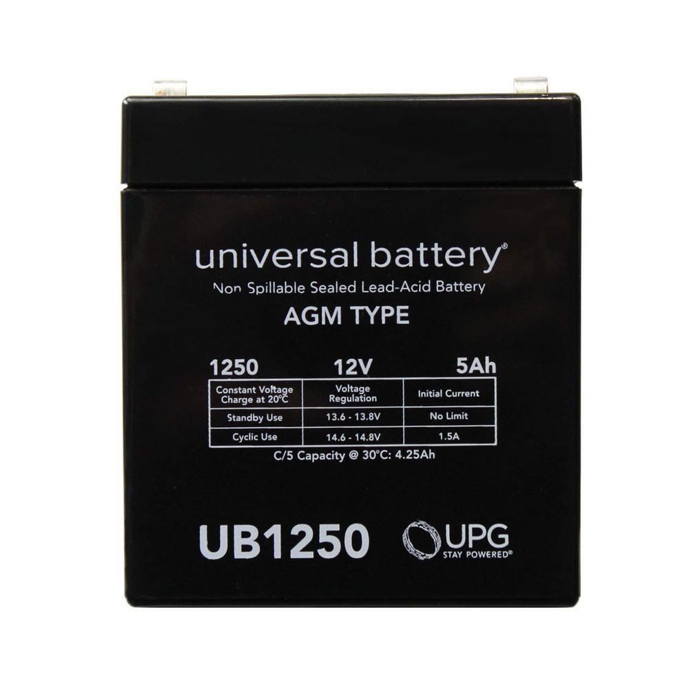 UPG 12-Volt 5 Ah F1 Terminal Sealed Lead Acid (SLA) AGM Rechargeable Battery