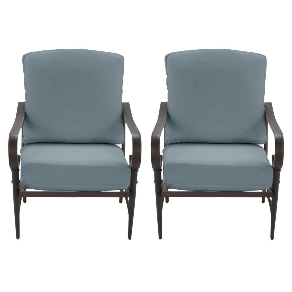 Oak Cliff Brown Steel Outdoor Patio Lounge Chair with Sunbrella Denim Blue Cushions (2-Pack)