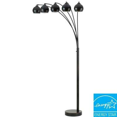 Arc 76 in. Dark Bronze Floor Lamp with Metal Shade