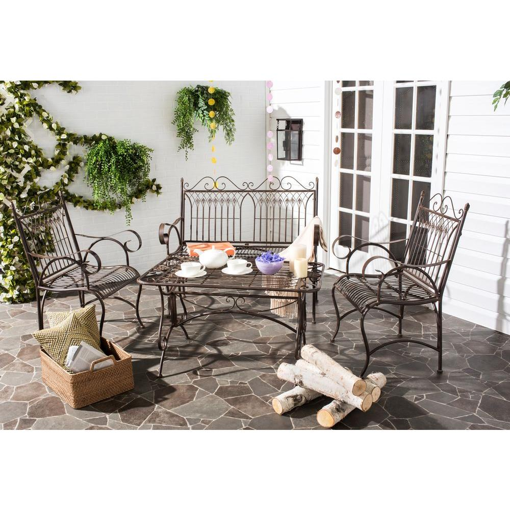 Safavieh Leah Rustic Brown 4 Piece All Weather Iron Patio Conversation Set